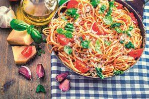 Špagety vařené se zeleninou